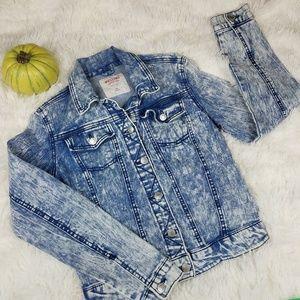 Acid Wash Denim Jean Crop Button Up Jacket